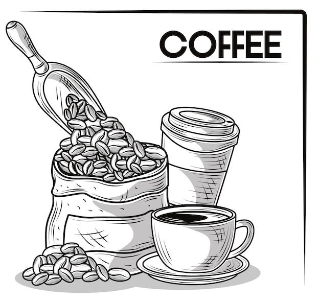 손으로 그린 커피