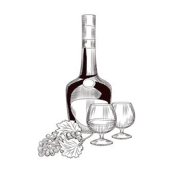 手描きのコニャックボトルとブドウの房。ブランデーとブドウのスケッチは、白い背景で隔離をスケッチします。