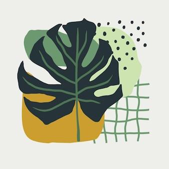 손으로 그린 간단한 모양의 콜라주와 녹색 색상의 스칸디나비아 스타일로 몬스테라를 남깁니다. 포스터, 엽서용 소셜 네트워크 디자인을 위한 개념입니다. 현대 유행 벡터 일러스트 레이 션