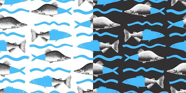 손으로 그린 콜라주 핑크 연어 물고기의 완벽 한 패턴입니다. 메뉴 또는 포장에 사용할 수 있습니다. 해산물 그림. 현대 배경