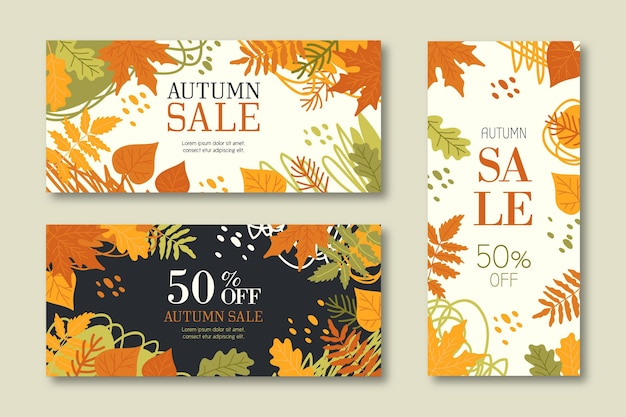 Hand drawn collection autumn sale banners