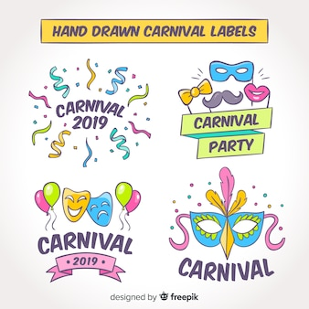 Hand drawn collection of carnival labels