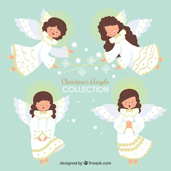 Hand drawn collection of christmas angels