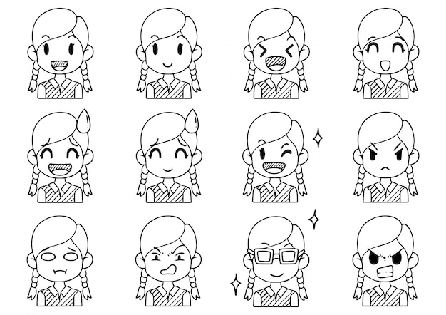 Hand drawn collection cute avatars cartoon