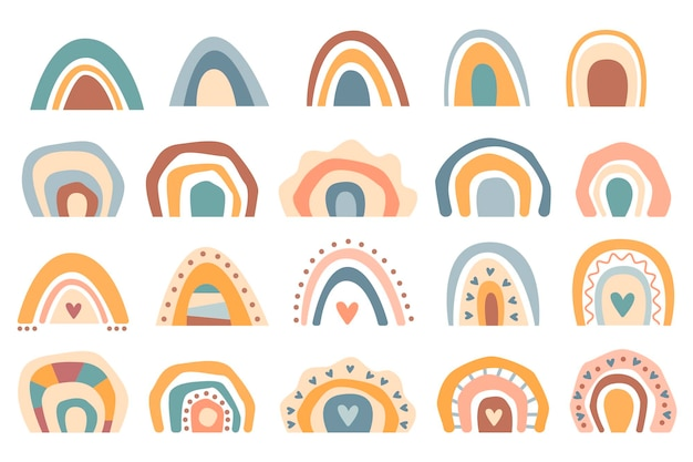 手描きコレクションかわいい自由奔放に生きる虹パステルカラーは白い背景で隔離。ベクトルフラットイラスト。ベビーシャワー、誕生日、パーティー、夏休み、プリントのデザイン