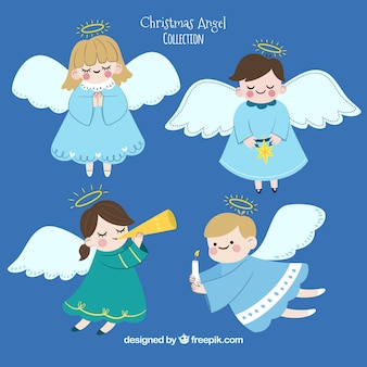 Hand drawn collection of cute christmas angels
