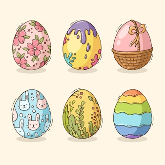 Hand-drawn collection of decorated easter eggs