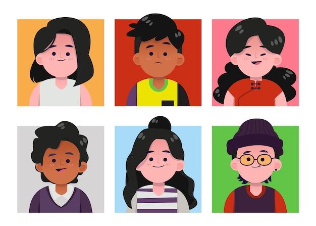 Collezione disegnata a mano di diverse icone del profilo