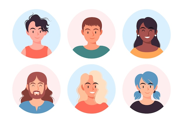 Hand drawn collection of different profile icons