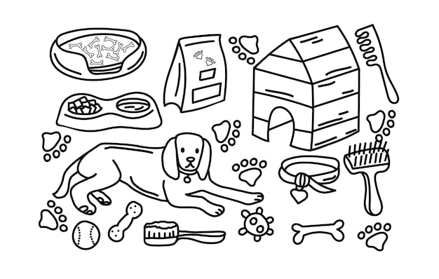 Hand drawn collection of dog theme bone food kennel toys set of pet elements