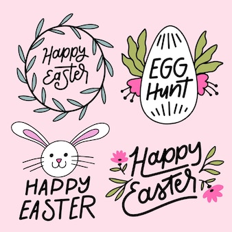 Hand drawn collection easter day label