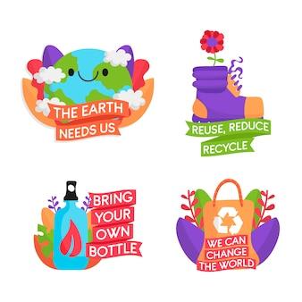Ручной обращается коллекция значки экологии