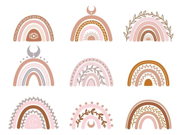 自由奔放に生きる虹のパステルカラーで保育園の装飾のための手描きのコレクション
