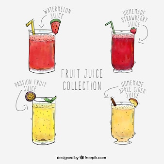 Hand-drawn collection of four fruit juices