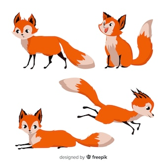 Hand drawn collection of foxes