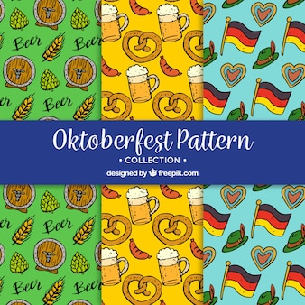 Hand drawn collection of german fest patterns