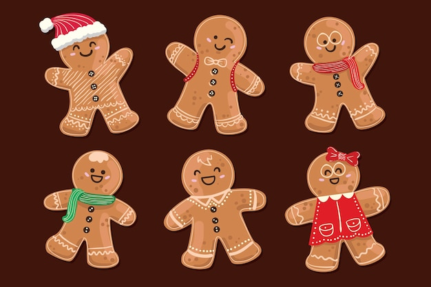 Hand drawn collection of gingerbread men