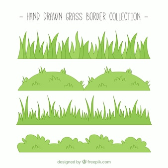 Hand-drawn collection of green grass borders