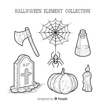 Hand drawn collection of halloween elements