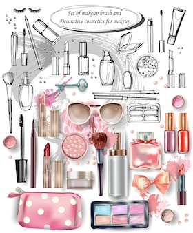 Hand drawn collection of make up and cosmetics vector illustration