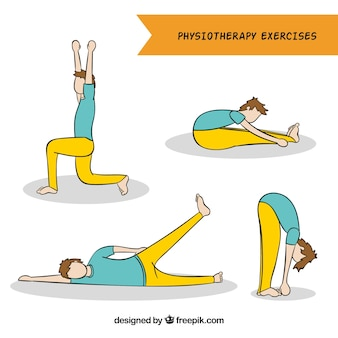 Hand-drawn collection of man doing physiotherapy exercises