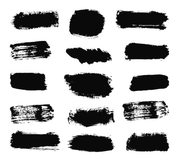추상 잉크 라인 및 브러시 스트로크 더러운 질감 배너 벡터의 손으로 그린 컬렉션
