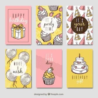 Нарисованная коллекция поздравительных открыток