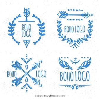 블루 boho 로고의 손으로 그린 컬렉션