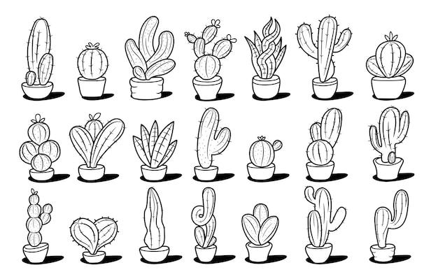 Коллекция рисованной кактусов