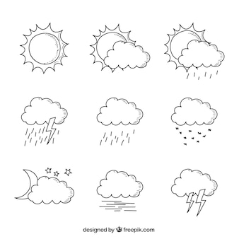 Hand-drawn collection of clouds in different weather conditions