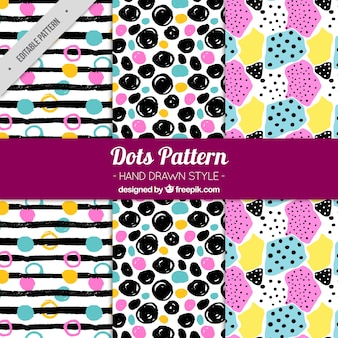 Hand-drawn collection of colorful dotted patterns
