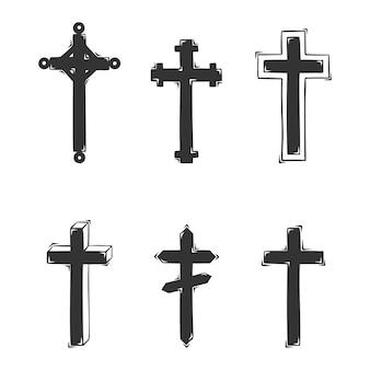 Коллекция рисованной крестов