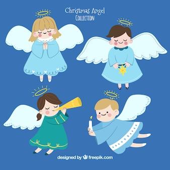 Ручная коллекция милых рождественских ангелов