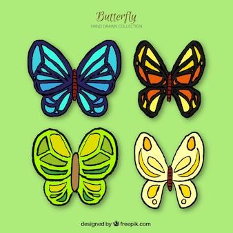 4色の蝶の手描きコレクション