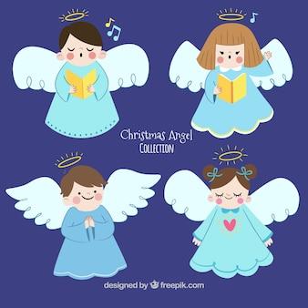 Ручная коллекция из четырех милых рождественских ангелов