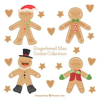 남자, 별과 하트 모양의 진저 쿠키의 손으로 그린 컬렉션