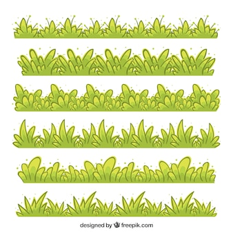 Hand-drawn collection of grass border in green tones