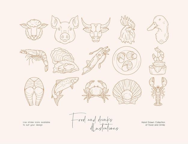 Нарисованная рукой коллекция иллюстраций еды линии искусства шаблона для брендинга плаката баннера