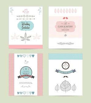 로맨틱 빈티지 힙스터 초대장의 손으로 그린 컬렉션 웨딩 결혼 신부