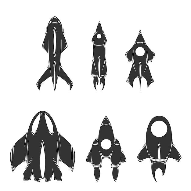 Коллекция рисованной космических кораблей