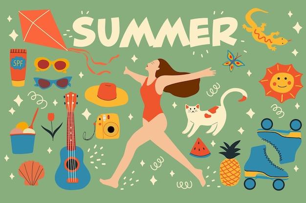 평면 스타일의 손으로 그린 여름 요소 컬렉션