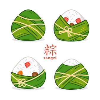 래핑 된 드래곤 보트의 zongzi의 손으로 그린 컬렉션