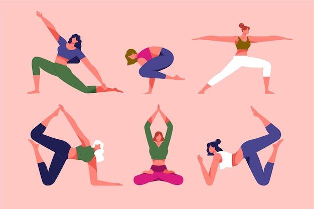 Collezione disegnata a mano di persone che fanno yoga