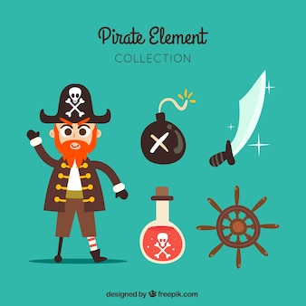 Hand-drawn collection of pirate with some elements
