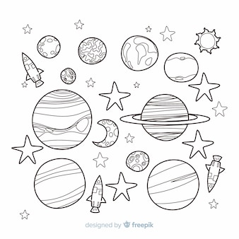 Hand drawn collection of planets in doodle style