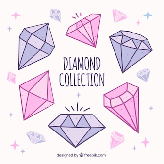 Hand-drawn collection of precious gems in pink and purple tones