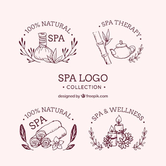 Hand drawn collection of spa logos