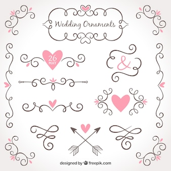 Hand drawn collection of wedding ornaments