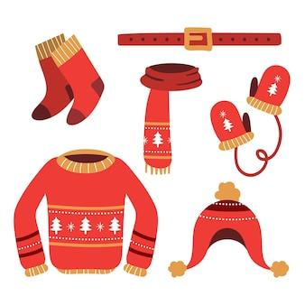 Accumulazione disegnata a mano di vestiti invernali