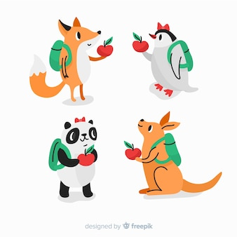 Hand drawn collection with wild animals
